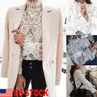 Tee Top Women Ladies Long Sleeve Shirt Hollow out Flowers Lace Chiffon Blouse US