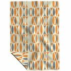 Throw Blanket Linen Seventies Vintage Gray Abstract Orange Geometric 48 x 70in image