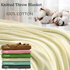"""Soft Warm 100% Cotton Solid Decorative Knitted Throw Blanket for Couch 50""""x 60"""" image"""