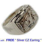 WHITE GOLD PLATED LUXERY DESIGN STYLE 6 Ring with Free Silver Earring U.S SHIP