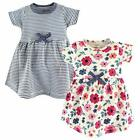 Touched by Nature Baby Toddler Girls' Organic Cotton Short Sleeve Dress, 2-Pack