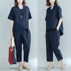 Womens Cotton Flax Sport Set Striped Short Sleeve T-shirt Pants Casual Loose New
