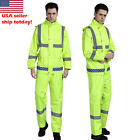 Reflective double layer Rain Jacket SET Suits Working Safety Clothing free pants