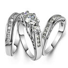 3Pcs/Set Couple Rings Plated 925 Silver Rings Set Wedding Ring Jewelry Size 6-12