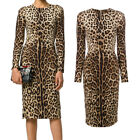 Aofur Womens Leopard Bodycon Prom Gown Formal Evening Party Dresses Long Sleeve