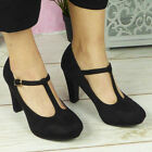 Womens Court Shoes Ladies Platform T Bar Buckle High Heel Ankle Strap Boots Size