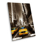New York Taxi Brown White Portrait Scenic Canvas Wall Art Large Picture Prints