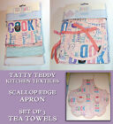 TATTY TEDDY PASTELS Scallop Edge APRON or SET OF 3 TEA TOWELS 100% Cotton GIFT