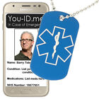 Medic Alert Dog Tag Necklace Dark Blue Engraved Medical Condition Phone Access