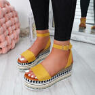 WOMENS LADIES ANKLE STRAP FLATFORM SANDALS PLATFORM SUMMER ESPADRILLE SHOES