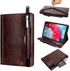 """iPad Pro 12.9"""" 2019 Case Heavy Duty Faux Leather Cover Stand Strap+Pencil Holder"""