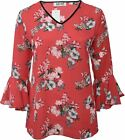 Ladies 16-26 New Red Floral Print Flared Cuff V-Neck Top Womens Plus Size