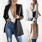 Womens Ladies Casual Blazer Ladies Open Front Lapel  Slim Suit Jacket Coat Tops