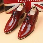 Mens Pointy Toe Lace Up Cuban Heel British Patent Leather Dress Wedding Shoes SZ