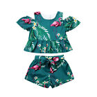 Fashion Toddler Baby Girl Kid Flower Flamingo Tops Pants Summer Clothes Outfits