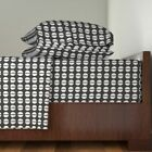 Semicircles Black And White Circles Mod 100% Cotton Sateen Sheet Set by Roostery