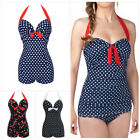 M-3XL Plus Size One-Piece Swimsuit for Women, Halterneck Bandage Swimwear