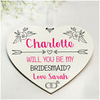 PERSONALISED Will You Be My Bridesmaid Flower Girl Maid of Honour Proposal Gifts