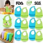 12x Waterproof Soft Baby Bib 100% food-graded Silicone Feeding Bibs Adjustable