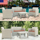 Weather Outdoor Patio Garden Furniture Sofa Gray Love Seat Coffee Table Us Stock