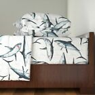 Shark Sharks Great Whites White Sharks 100% Cotton Sateen Sheet Set by Roostery