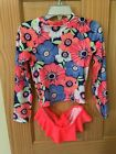NWT Gymboree Rash Guard Flower Floral Set Toddler Girls UPF 50 Neon Pink