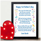 Personalised Happy First 1st Fathers Day Keepsake Poem Gifts for DADDY DAD HIM