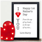 Personalised I Love You Daddy First 1st Fathers Day Gifts for Daddy Dad Him