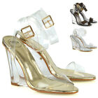 Womens High Heels Wedge Sandals Perspex Clear Strappy Dressy Party Shoes Size