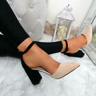 WOMENS LADIES ANKLE STRAP HIGH BLOCK HEEL PUMPS CASUAL PARTY SHOES SIZE UK