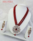Indian Designer Long Jewelry Heavy Big Kundan Pearl Necklace Set Party Wear