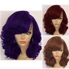 Women's Short Hair Full Wig Side-Parted Curly Synthetic Bob Wigs Cosplay w/Bangs
