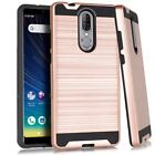 For Coolpad Legacy CP3705A (2019) Metallic Hybrid Cover Case +Tempered Glass