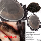 Mens Toupee Swiss Lace Men Hairpieces Wig 100% Human Hair Replacement System USA