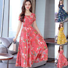 Women Dress Ladies Party Summer Round neck Floral Work Casual 2019 Office Midi