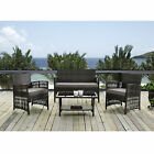 4pcs Outdoor Patio Furniture Set Wicker Garden Lawn Sofa Rattan + Placemat