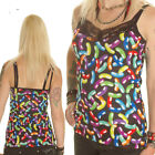 BLACK NEON JELLY BEANS STRAPPY VEST TOP CAMISOLE GOTHIC ALTERNATIVE SIZE 6-18