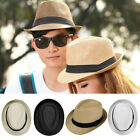 Men Women Child Summer Straw Fedora Panama Wide Brim Beach Cap Sun Hat