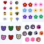 Summer Promotion Gifts Mixed Shoe Charms Flowers Bears Paw Prints Fit Wristbands