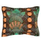 Beer Beer Art Deco Hops Bottle Caps Teal Copper Beer Art Pillow Sham by Roostery