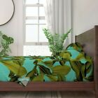 Tropical Palm Banana Leaf Palm Palm 100% Cotton Sateen Sheet Set by Roostery image