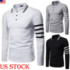 Fashion Men Slim Fit POLO Shirts Long  Sleeve Golf T-shirt Striped Tees Tops image
