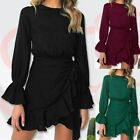 Women's Long Sleeve Round Neck Ruffle Wrap Size Lace Up Dresses Party Dress Sexy