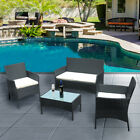 4 Piece  Rattan Garden Furniture Set Chairs Sofa Table Outdoor Patio Chairs Set