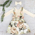 Infant Kids Baby Girl Long Sleeve Tops Floral Dress Skirt 2Pcs Outfit Clothes US