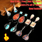 Vintage Boho Retro Silver Turquoise Gemstone Drop Dangle Hook Earrings Wholesale