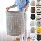 Foldable Storage Bag Basket Round Canvas Linen Draw String Bag for Clothes Toys