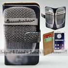 For OPPO Series - Vintage Microphone Theme Print Wallet Mobile Phone Case Cover