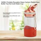340ML Portable Cute Glass Cup Cartoon Rabbit Ears Bottle Tea Hot Cold Water Cup