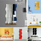 6pcs Wavy 3d Mirror Wall Stickers Home Living Room Diy Art Decal Decor Removable